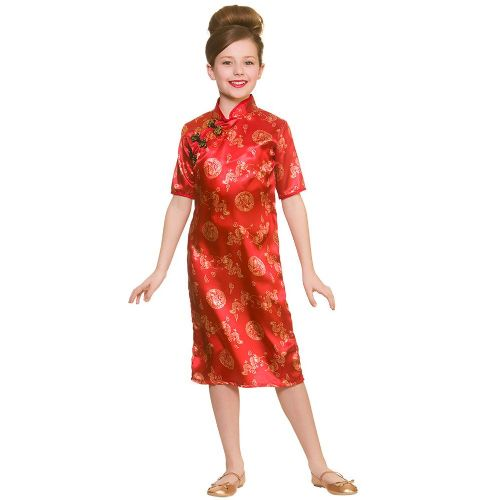 Girls Chinese Girl Costume for Oriental Coolie Asian Thai Fancy Dress